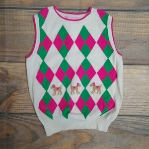Lilly Pulitzer girls delancy argyle vest size 6